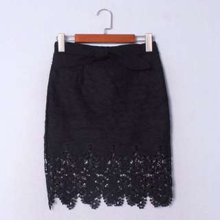 Black lace skirt with ribbon front