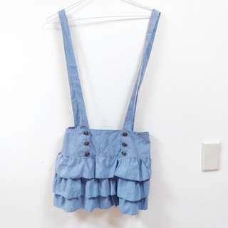 🚚 ✨出清✨藍色吊帶蛋糕裙
