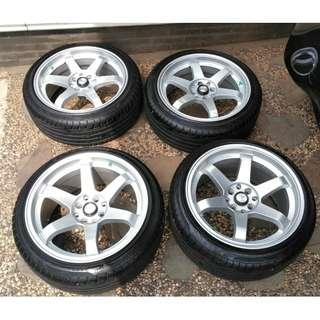 Jual velg HSR Wheel R17 T37 + Ban forceum 205/45 R17
