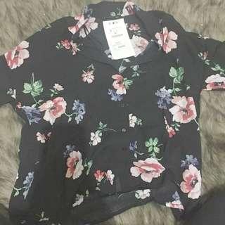 Stradivarius flower summer shirt kemeja