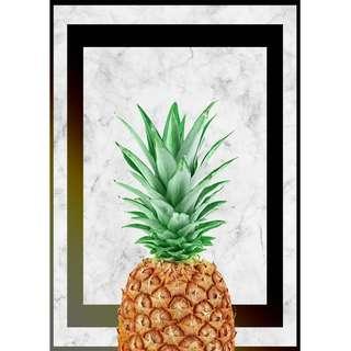 Pineapple on Marble Texture