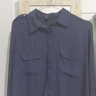forever21 shirt kemeja navy