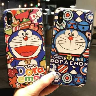 Doraemon iphone 5 5s 6 6s 7 8 plus X emboss rubber case