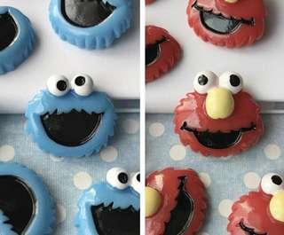 Cookie Monster/Elmo charm by Slimedino_