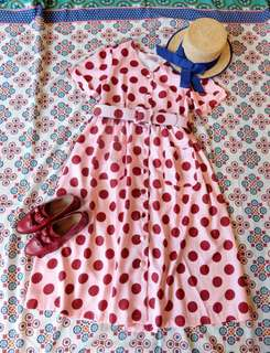 Paishop 圓點雙口袋復古洋裝 粉紅底紅點點 little freckle小雀斑 韓國