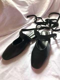 韓國綁帶平底鞋