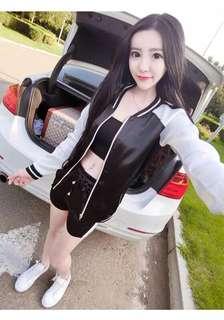 🚚 韓版休閒運動兩件式套裝棒球外套休閒短褲