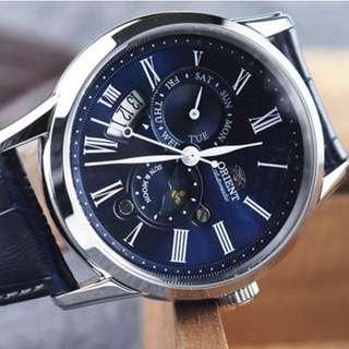 [BNIB] Orient Sun and Moon Version 3 Blue Dial Automatic SAK00005D Mens Watch