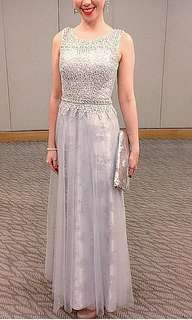 Dinner Dress Evening Gown Maxi Silver Grey Lace Mesh Bling Shiny Dress