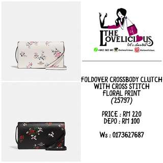 FOLDOVER CROSSBODY CLUTCH WITH CROSS STITCH FLORAL PRINT COACH F25797