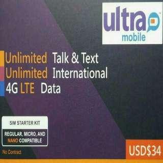美國 數據卡 30天 4G 4GB +128kbps 無限數據 上網卡  +無限美國當地/香港通話(免費通話多達多達75個國家) SIM CARD