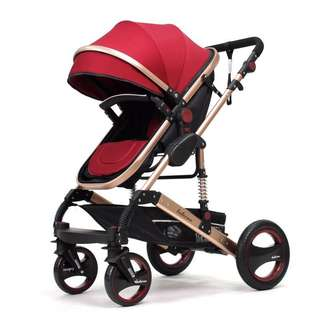 New Red Belecco German Design European All Air Tyres Stroller / Pram