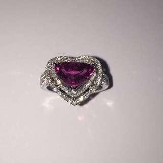 天然紅碧璽鑽石戒指 墜子 一套 訂製品