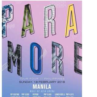 Looking for 2 Paramore tour four tickets (Magkatabi) 6000k-10000k