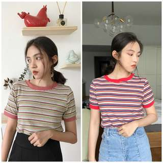 Women Vintage Stripe Tee