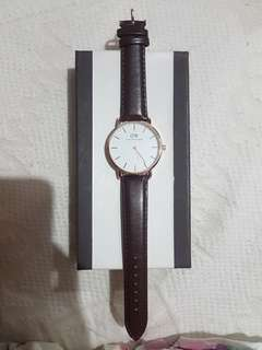 Daniel Wellington Brown Watch with Gold Frame