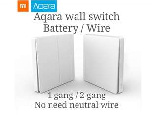 Xiaomi Aqara wall switch Wire or battery, 1 or 2 gang