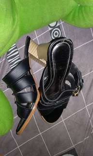 Sepatu wanita wedges heels 5cm hitam/black