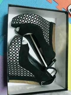 黑色格子楔型鞋