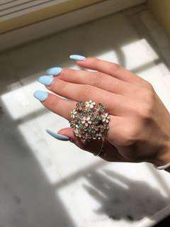 Floral rhinestone ring