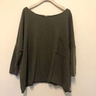 🚚 軍綠色寬鬆七分袖上衣。零碼。女裝。口袋。韓國製造。「嚕嚕啦啦」