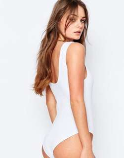 Scoop Back White Ribbed Bodysuit