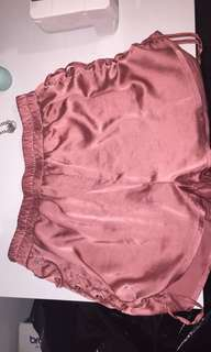 Champagne Pink Silk Side Tie Up Shorts