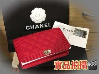 Chanel Boy Woc 牛皮紅銀扣