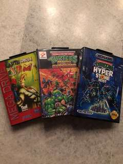 Sega Mega Drive - Earthworm Jim, TMNT return of shredder, TMNT Hyperstone Heist