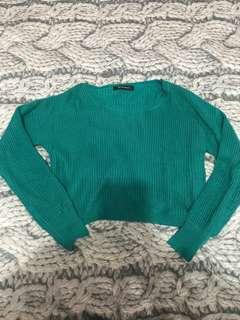 Cropped green sweater