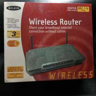 BELKIN Wireless Router (802.11b). New, never used, still in wrapping
