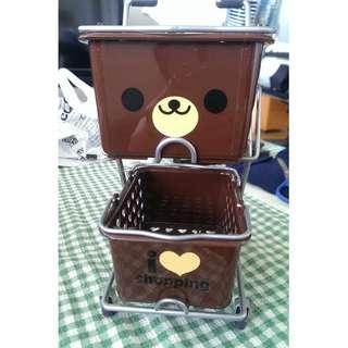 Cute Brown bear Mini Shopping Cart Desk organizer storage