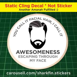 Static Cling Decals for your Gentlemen's Haircut / Hairdressing / Grooming / Salon or Barber Shop. Diameter of decal is 11cm. Just $5 each with Free Postage.