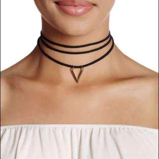 Sterling Forever Triple Row Suede Choker Necklace