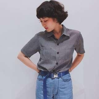 Rot Rosa  ✼ 黑格雙口袋襯衫 ✼ 小尖領 細密格紋 基礎款 中性短袖上衣  下北澤裝苑 日本古着Vintage