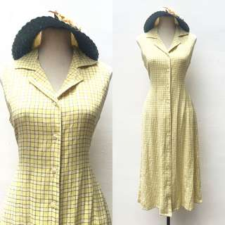Yellow Plaid Maci Dress