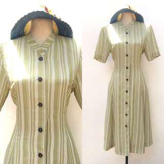 HQ Apple Green Vertical Stripe Vintage Dress
