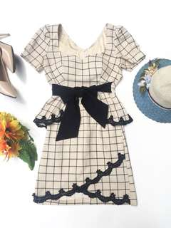 HQ Cream Plaid Padded Dress