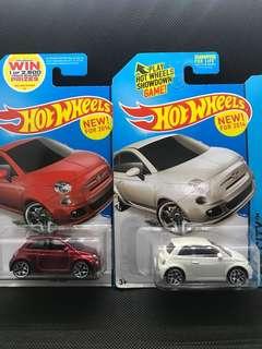 Hotwheels Fiat 500 Dir-cast Cars Set of 2