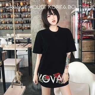 韓版男生 彈性 萊卡棉 刺繡玫瑰花 圓領 男女情侶 短袖 T 恤