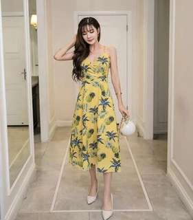 Pineapple Print Wrap Neck Midi Dress 101922 JPN