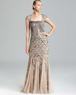 Adrianna Papell bridal wedding nude mesh silver sequin embellished evening dress gown