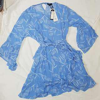New Cotton On Baby blue bell sleeve dress with frill skirt