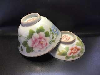 聽雨樓:#MSH-0012:【民國】王隆泰造刷花蓋碗一套