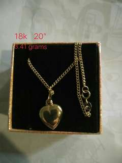 Necklace With Heart Pendant Saudi Gold 18k