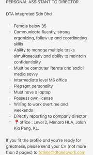 Personal Assistant to Company director wanted