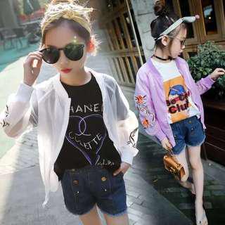 💥中大童裝-預購H022禾《夏季韓版女童 花朵紫外線防曬薄款外套》