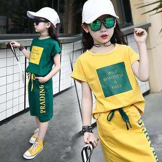 💥中大童裝-預購H024禾《夏季韓版女童WILD時尚套裝》