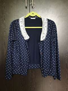Dark Blue Polka Dotted Cardigan