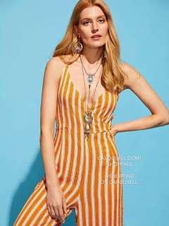 Summer Yellow Vertical Stripe Jumpsuit